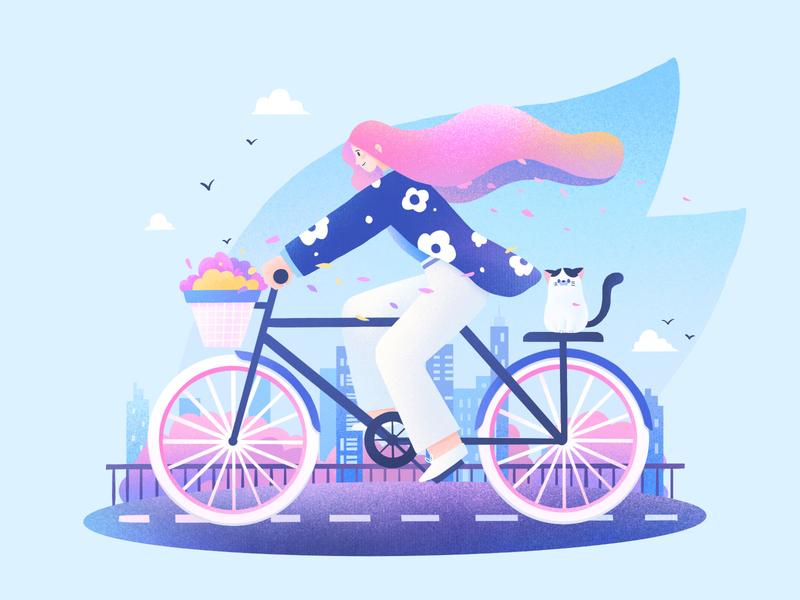 The Girls09 spring sukura cat flower blue procreate character girl design illustration