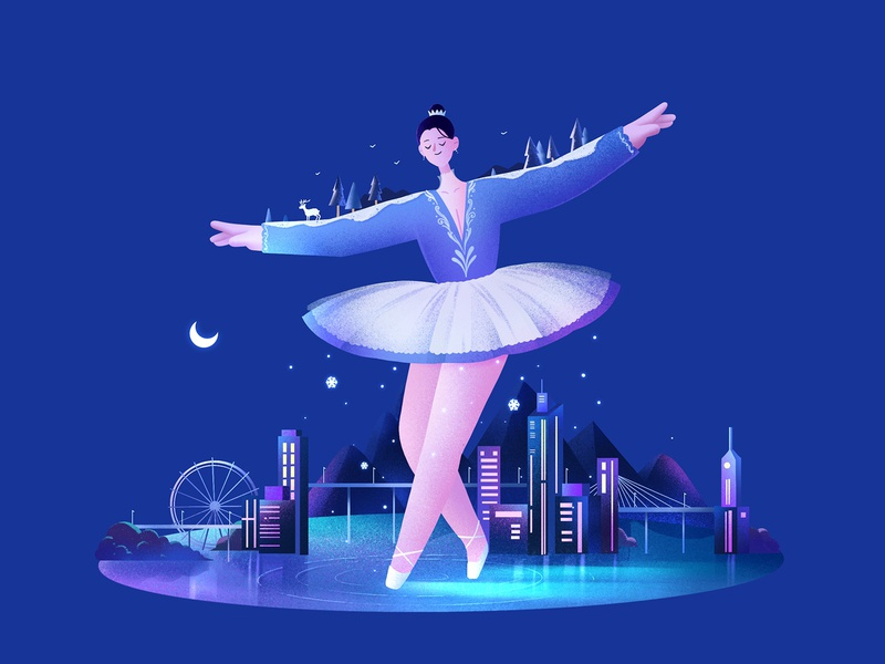The Girls12 ballet night light procreate character girl design illustration
