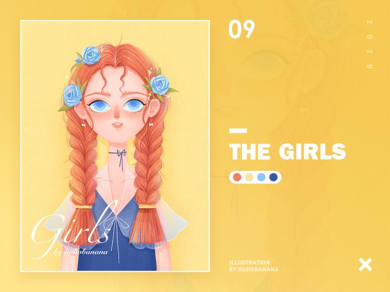 Illustration09 rose flower procreate girl character design illustration