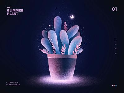 夜幕微光01 plant light ghibli illustration