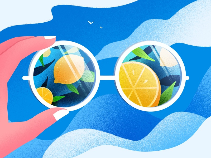 Summer is coming sky lemon design illustration