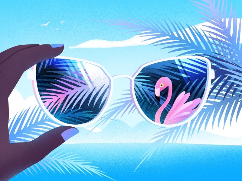 Summer is coming04 glasses procreate sea summer blue design illustration