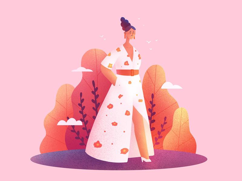 The girls scenes fashion procreate character girl design illustration