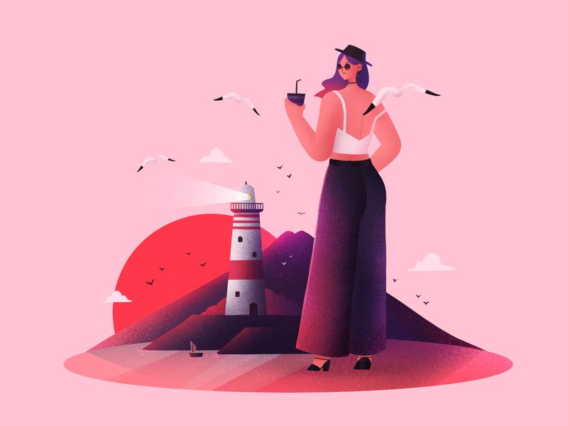 The girls03 sailboat summer cool wharf beach sunset seagull lighthouse light girl design illustration