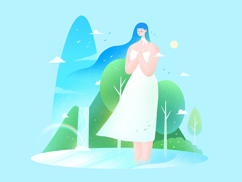 The girls 04 breeze sky quiet blue lake rainbow summer procreate character girl design illustration