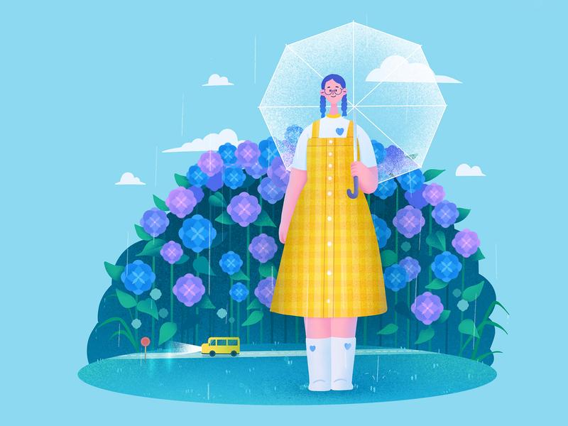 The girls05 rainy car flower hydrangea umbrella april procreate character girl design illustration