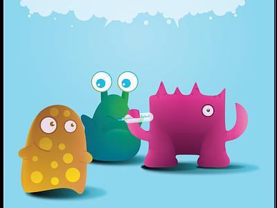 Disease Monsters character design humour branding illustration