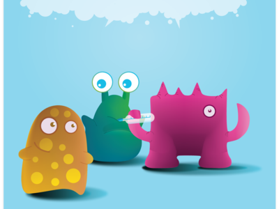 Disease Monsters character design humour branding illustration