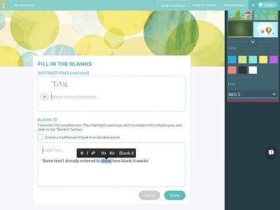 Wizer builder text editor education app worksheet design builder edtech web app ux ui
