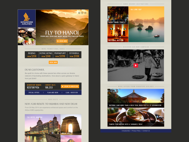 Mailer Design for Singapore Airlines tourism web branding logo minimal flat typography icon ui design mailer