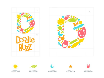 Doodle Buzz Logo sketch chat buzz doodle ios android passion communication class paint artist creative art colourful elegant design typography logo branding