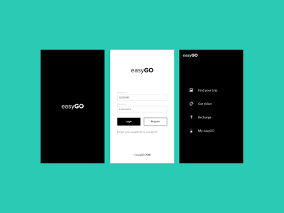 EasyGo personal project splash, login & Landing