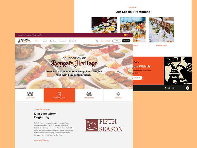 Kolkata Beckons - Website reservation delivery food resturant illustration identity minimal logo flat ui typography icon design branding website