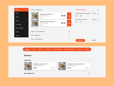 KB Website - menu interaction design interactive order management interface menu menu design interaction ux design icon ui