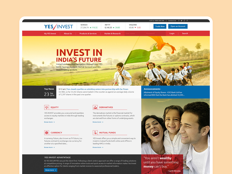 Yes Invest - Website Design Concept website identity minimal flat ux ui typography icon design branding
