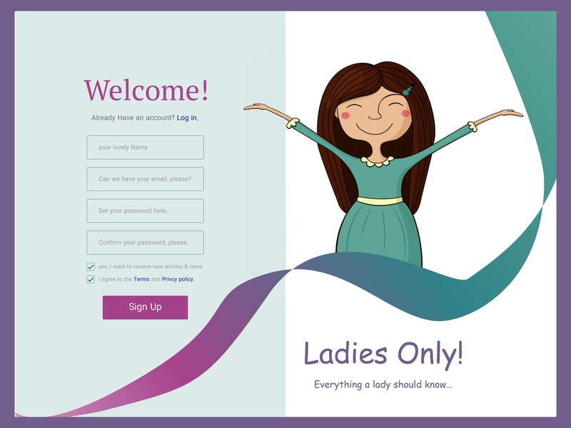 Sign Up flat design app ux ui illustration lady sign up screen sign up 100dayproject 100 day ui challenge 100 day challenge 100 daily ui