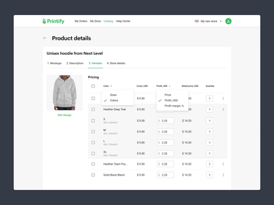 Setup your product price with ease tabs input fields quantity checkbox dropdown costs print on demand table price table prices price setup