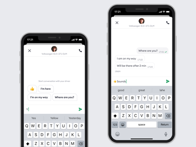 💬Bolt Rider & Driver Chat rideshare ride hailing chat ui chat interface messaging chatting chat bolt