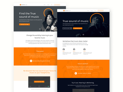 Landing page designs for Sonarworks 🎧 made in latvia hero music sonarworks page web design ux layout ui landing page