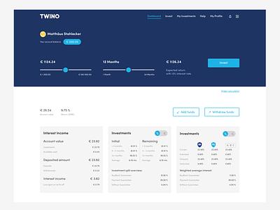 Dashboard Concept slider toggle dashboard fintech range desktop ui twino
