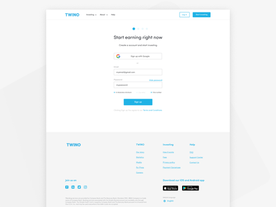 Sign Up page of Twino p2p sign up google sign in password validation sign up page twino desktop ui ux fintech