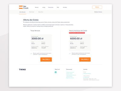 NetCredit Offer page. desktop profile layout netcredit twino ui ux fintech