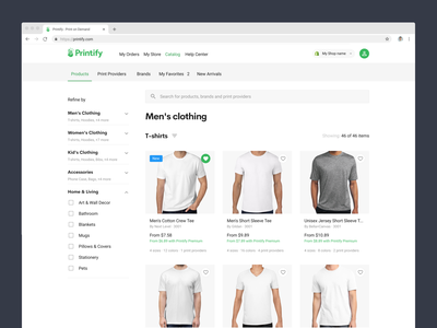 Product Catalog Design concept navbar product design favorite badge t-shirt products search bar navigation bar filtering filters filter t-shirts products page print on demand printify