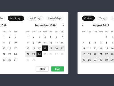 Filter by the date 🍟Concept selection buttons slider filter chips date slider printify calendar date picker