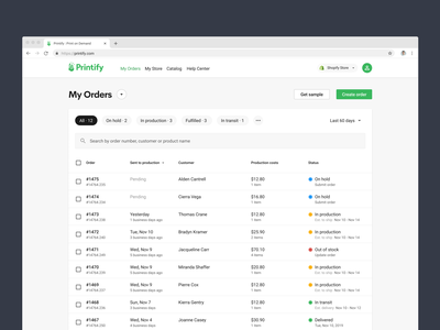 New Orders page of Printify search bar sorting order fulfillment order management status table orders printify