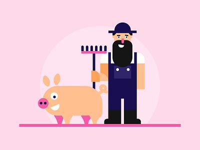 Normis - The ferocious piggy 🐷 artwork pigs illustrations vuejs game game art farmer piggy pig illustration