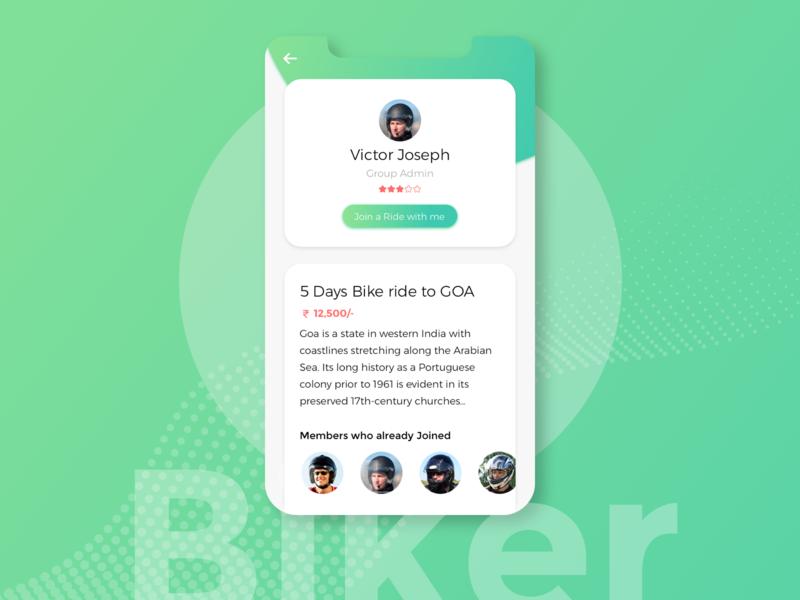 Biker Application minimal rider ride presentation clean ui app design clean design app concept artwork minimalist ui  ux long ride biker gang app ui