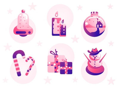 Christmas Icons winter sketch illustration bell candle snowman gift icons set icons christmas