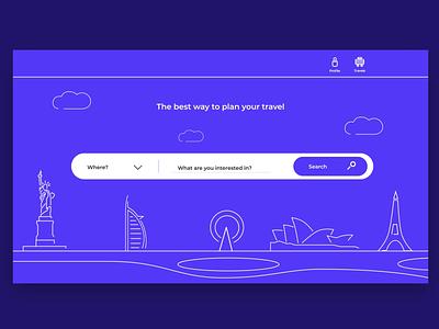 Travel website city uiux illustraion animation 2d animation web flat ui blue linear interaction xd sketch travel