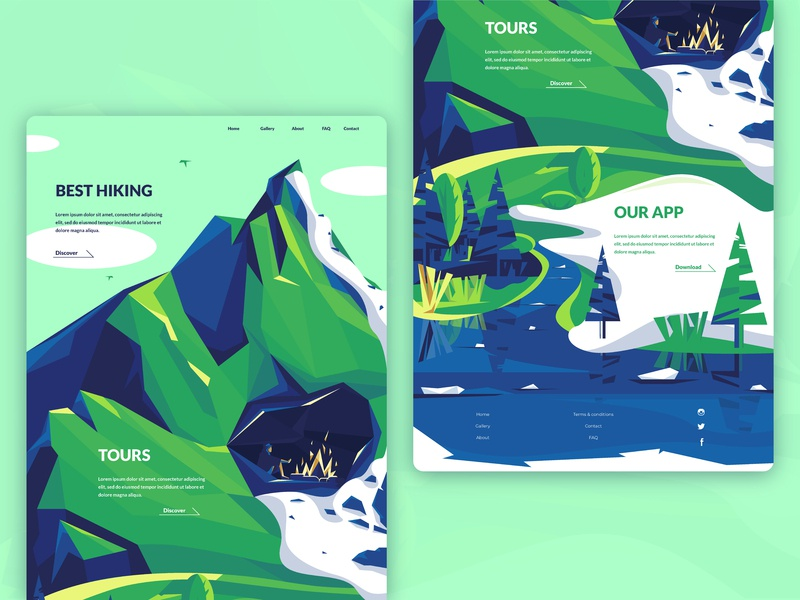 Hiking Website landing page summer ice river trees hiking peak cave snow mountains vector illustrator illustration uiux ui