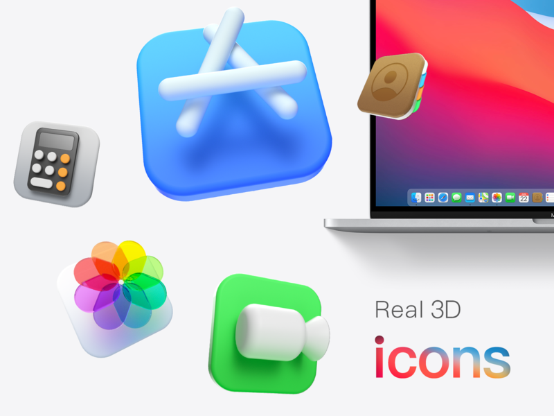 Big Sur 3D icons apple calculator contact photos facetime ios app ios osx bigsur ios14 macos icon 3dicon appstore octanerender 3d ux icons illustration c4d macos