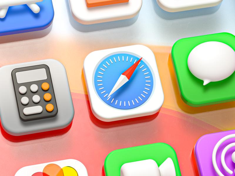 macOS Big Sur 3D icons octanerender apple ios14 appstore contact safari illustration ui ux vikiiing macos bigsur icons 3d c4d