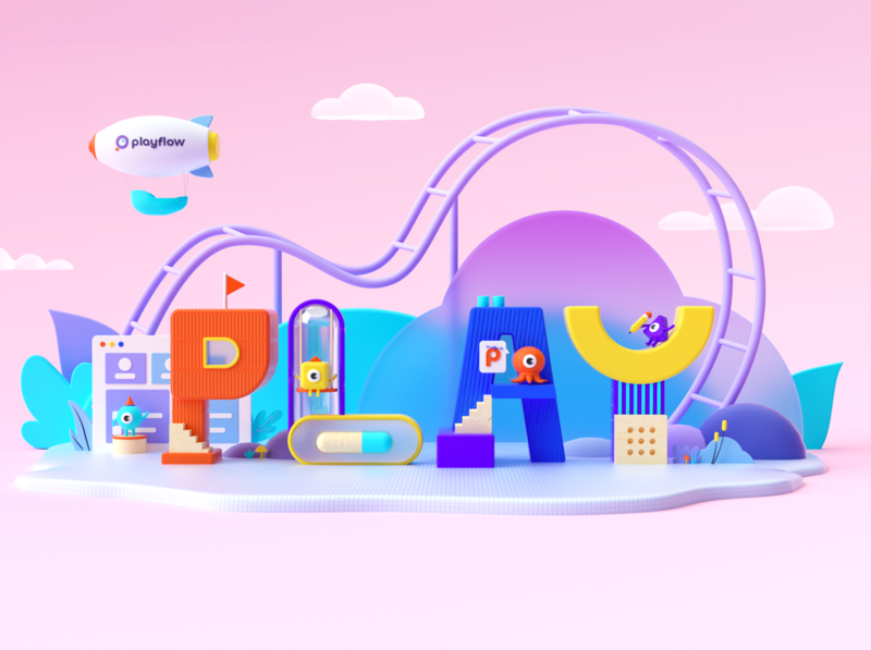 Playflow play landingpage 3d illustration c4d
