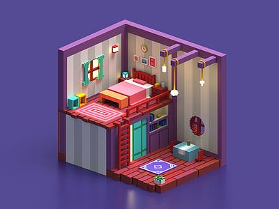Bedroom bedroom magicavoxel vikiiing voxel