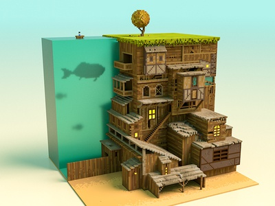 The Midsummer Station 01 fash ocean house magicavoxel vikiiing voxel