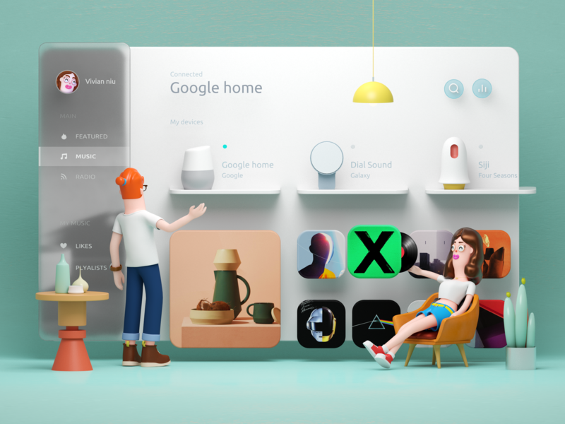 Smart Home Dashboard _ cyan ux ui home c4d illustration flat smart home design charachter design 3d