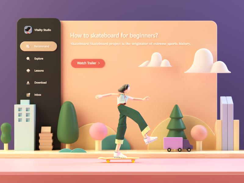 Skate Girl landingpage dashboard landing page illustraion web design flat character design app design ui  ux skate c4d 3d