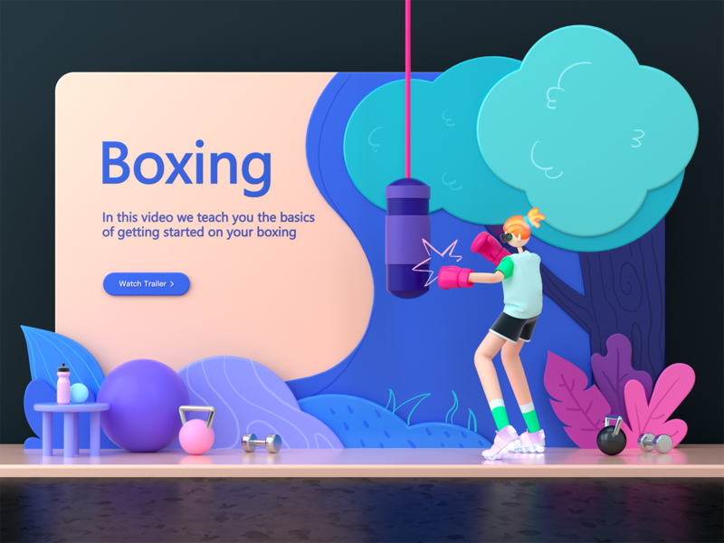 Boxing boxing c4d character 3d flat illustration ux landing page branding ui design