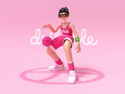 Dribbble invitation dribbble invitation illustraion 3d art basketball shoot dribble invite dribbble c4d