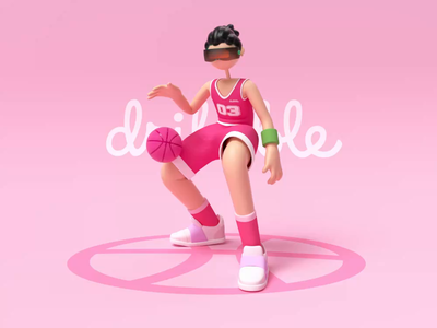 Dribbble invitation dribbble invitation illustraion 3d art basketball shoot dribble invite dribbble c4d