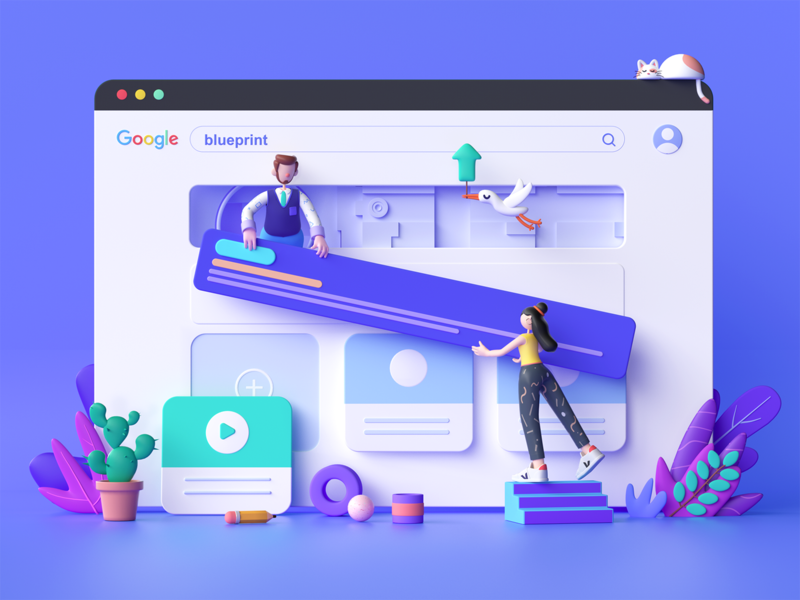 Blueprint - landing page landingpage ui dashboard google octane c4d 3d illustration