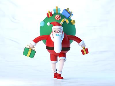 🎄Santa Claus 🎅 xmas character gifts hollday claus senta merry xmas 3d c4d cute illustration