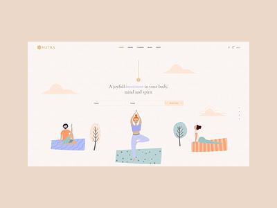Hatha - Fullscreen slider animation modern illustration webdesign design website web wordpress health lifestyle yoga course yoga pose meditation yoga studio yoga