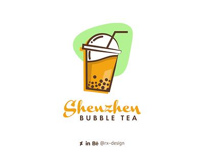 Shenzhen Bubble Tea logo visual identity drink china bubbletea food logo logo design branding logo design challenge logo design branding