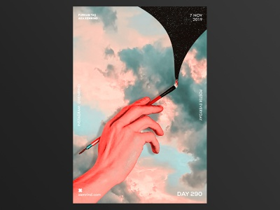 Xemrind Day 290 red cloud hand posters print design print collage art collage illustration typography minimal template design graphic gradient poster a day poster graphic  design daily poster a poster every day