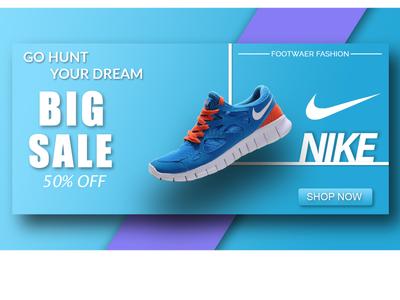 Social Media Banner ux ui nike shoes branding photoshop